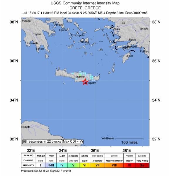 Intensywność trzęsienia ziemi na Krecie