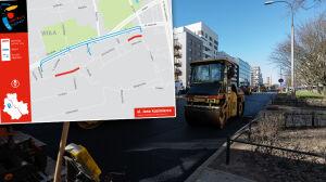 Drogowcy naprawiają (doraźnie) ulicę rozjeżdżaną przez ciężarówki
