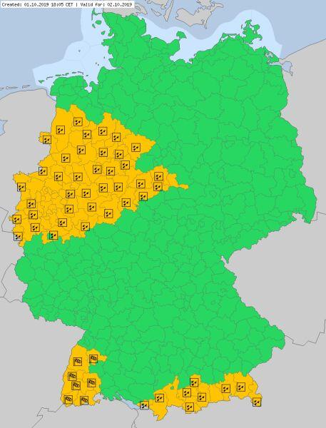 Ostrzeżenia meteorologiczne dla Niemiec na środę (meteoalarm.eu)