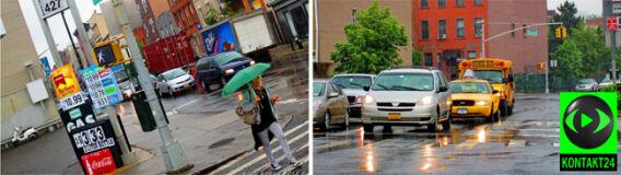 Majowy deszcz zmoczył Nowy Jork. Pioruny rozbłysną nad Manhattanem
