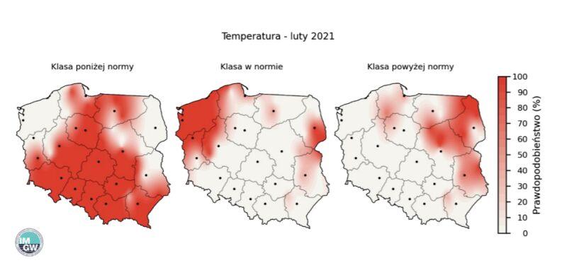 """Prawdopodobieństwo wystąpienia klas """"poniżej normy"""", """"w normie"""" i """"powyżej normy"""" dla średniej temperatury powietrza w lutym 2021 r. według modelu IMGW-Bayes"""